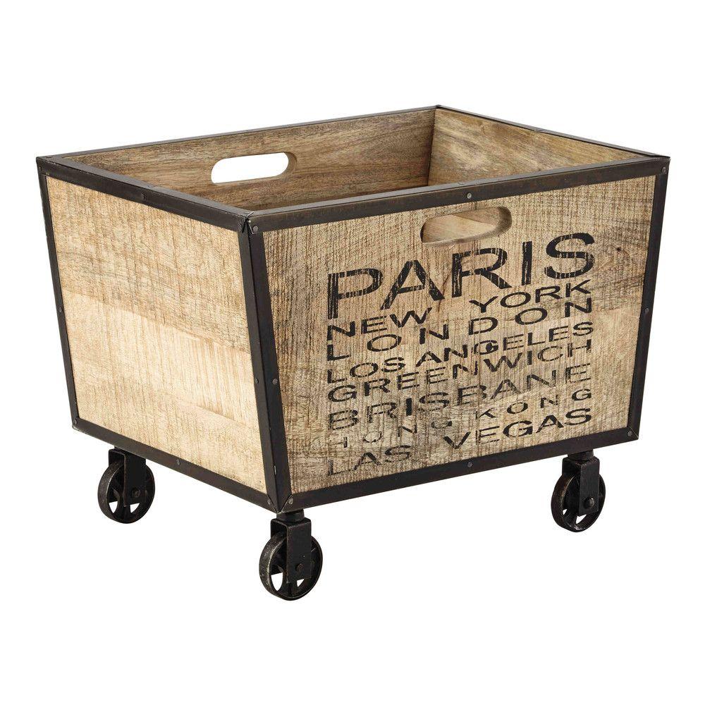 Caisse Bois À Roulettes rangements déco | caisse bois, banc pour chambre et cagette