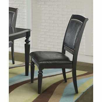 Westbury Dining Chair Set Of 2 Dining Chairs Faux Alligator Upholstery Nail  Head Trim