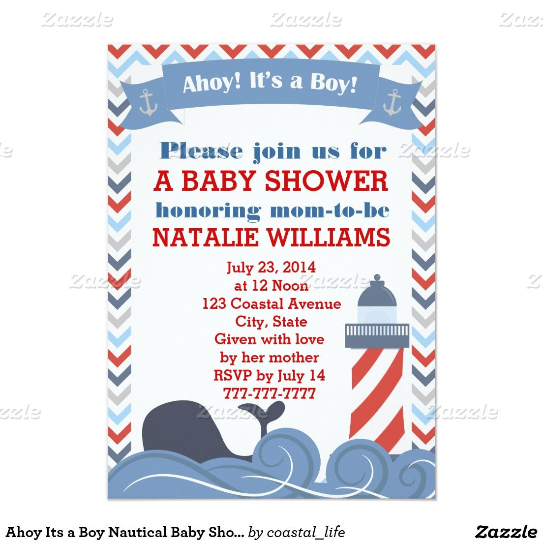 Ahoy its a boy nautical baby shower invitation nautical baby ahoy its a boy nautical baby shower invitation filmwisefo