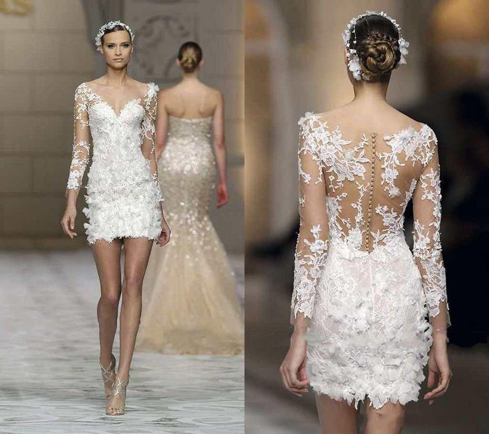 Long Sleeve Short Lace Wedding Dress Bridal Gown Custom Size 2 4 6 8 10 12 14 16 Mini Wedding Dresses Short Lace Wedding Dress Applique Wedding Dress [ 887 x 1000 Pixel ]