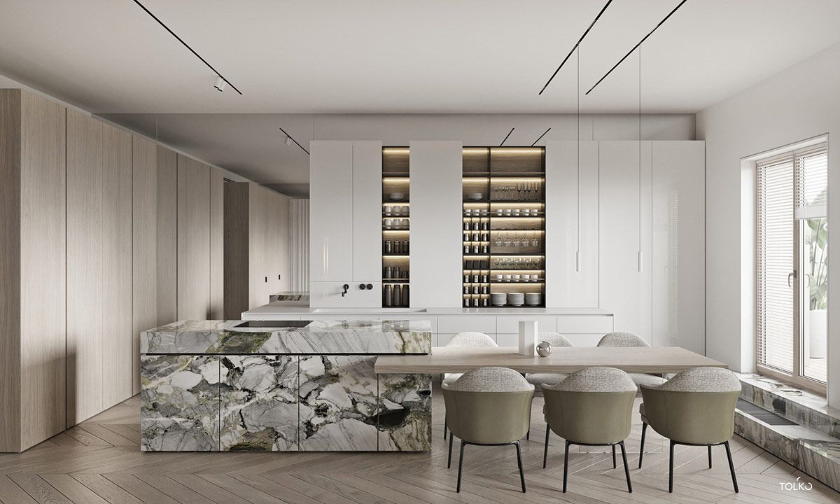 Marbled And Modern Interior Design In Moscow Modern Kitchen Design Interior Design Kitchen Modern Interior Design