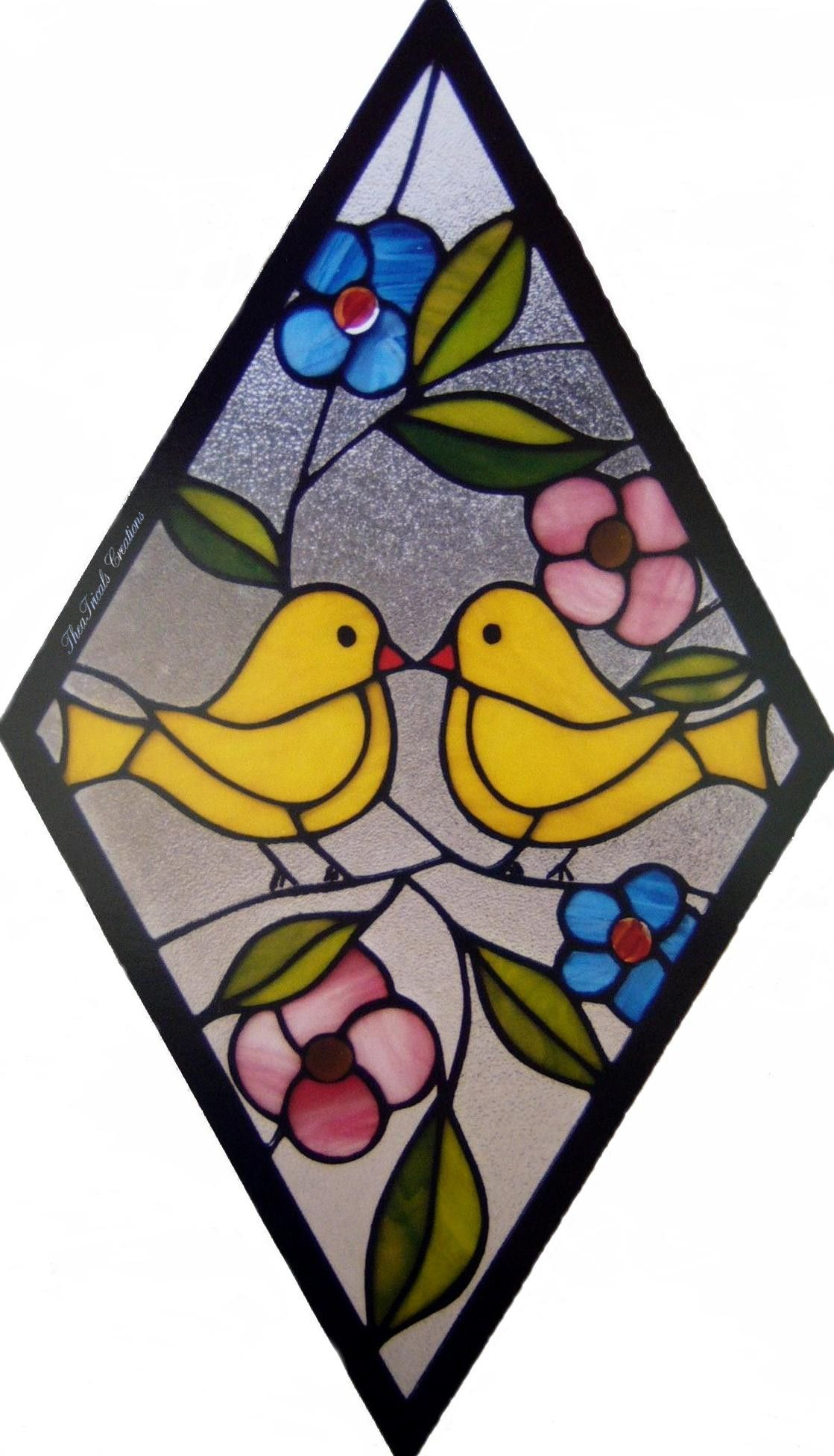Love Birds Stained Glass Stained Glass Gifts Stained Glass Crafts Stained Glass Projects