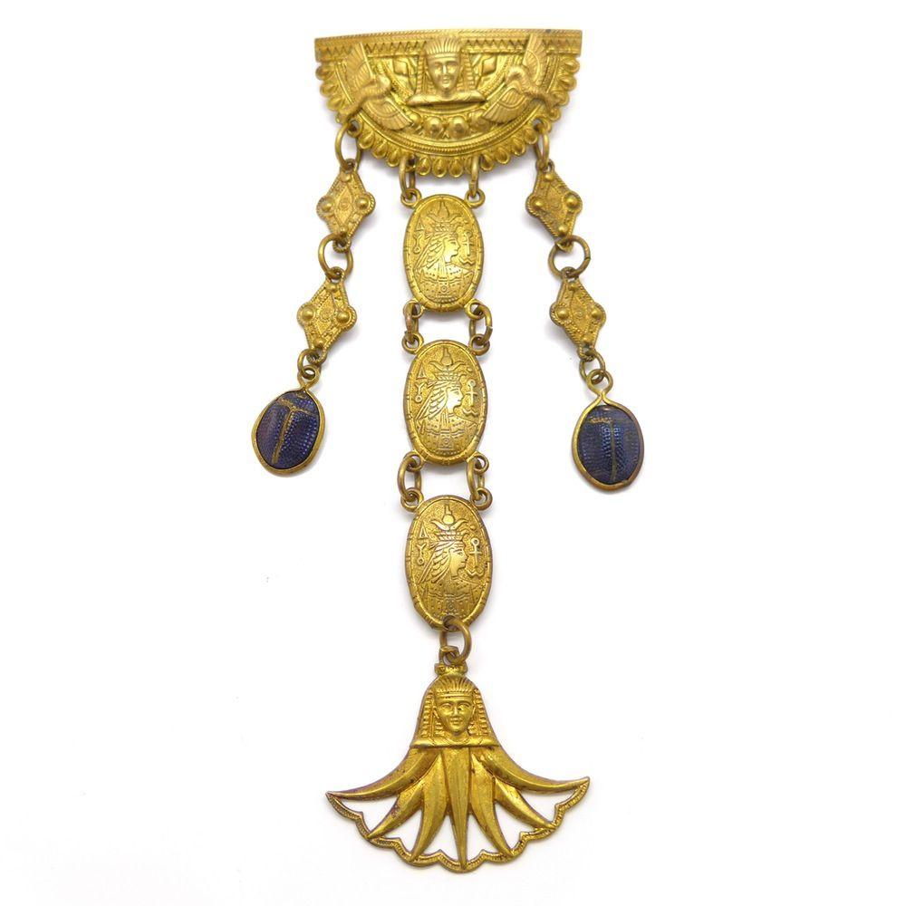 Vintage Art Deco Egyptian Revival Gold Tone Scarab Pharaoh Brooch | Clarice Jewellery | Vintage Costume Jewellery