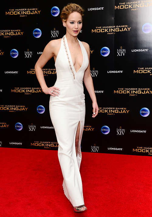Jennifer Lawrence in a plunging gown at a Mockingjay premiere.