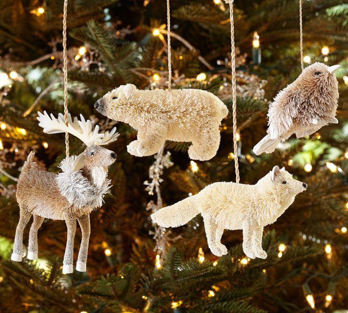 Arctic Animal Ornaments Set Of 4 Pottery Barn Woodland Christmas Tree Woodland Christmas Ornaments Christmas Tree Ornaments