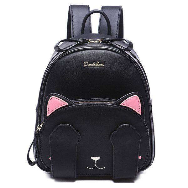 Linda mujer  s mochila con el patrón de gato y Diseño Negro  12c1dd6f080a9