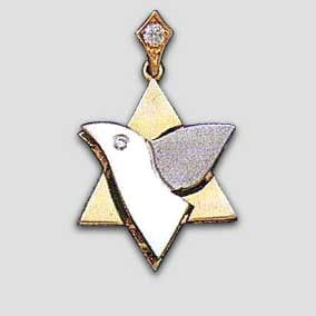14k Yellow & White Gold Dove Star of David Diamond Pendant