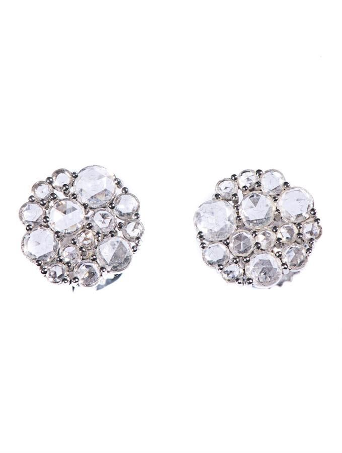 33e07f94c Susan Foster White-diamond & white-gold stud earrings on shopstyle.com