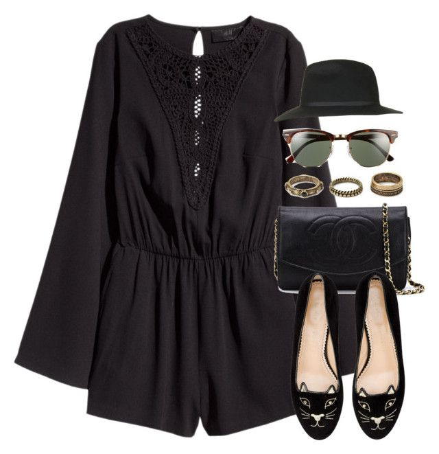 """""""Style #10687"""" by vany-alvarado ❤ liked on Polyvore featuring H&M, Chanel, Forever 21, Ray-Ban, Charlotte Olympia and Topshop"""