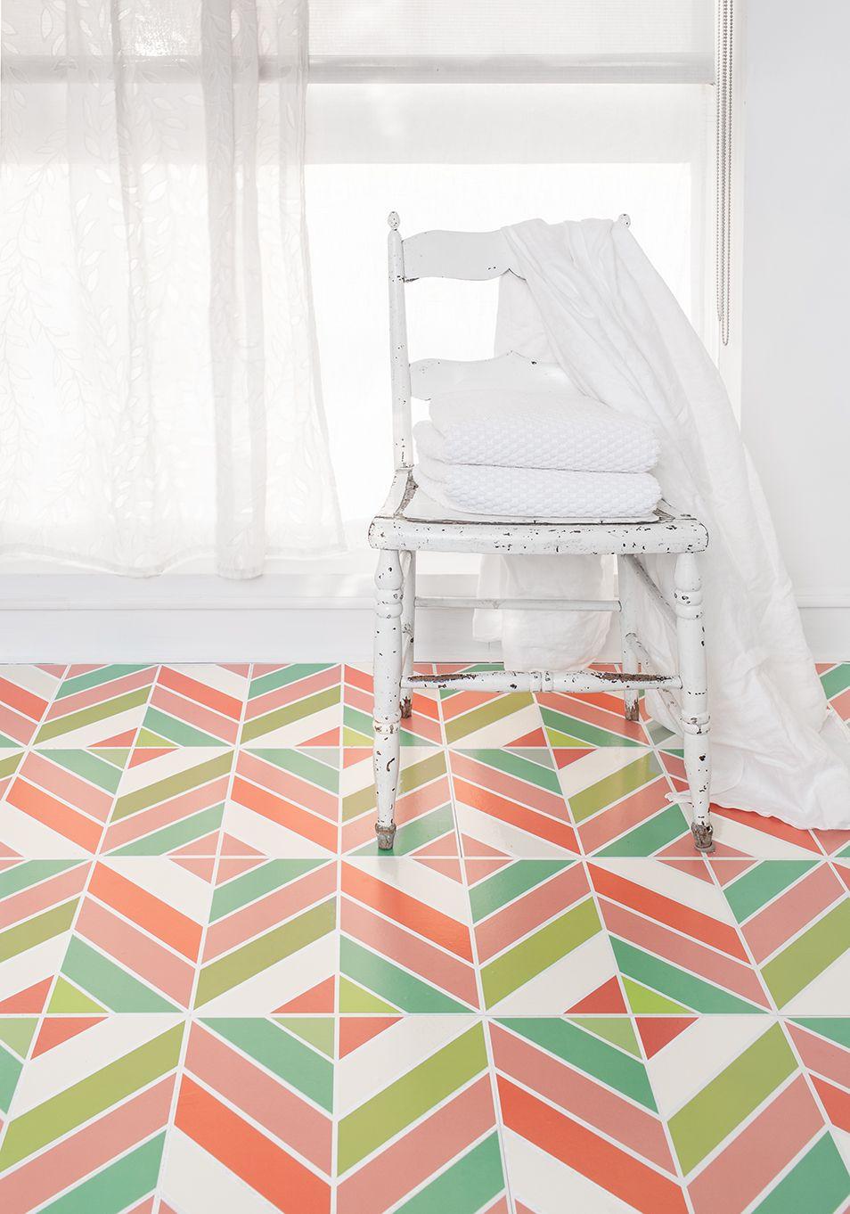 pink chevron peel stick floor tile