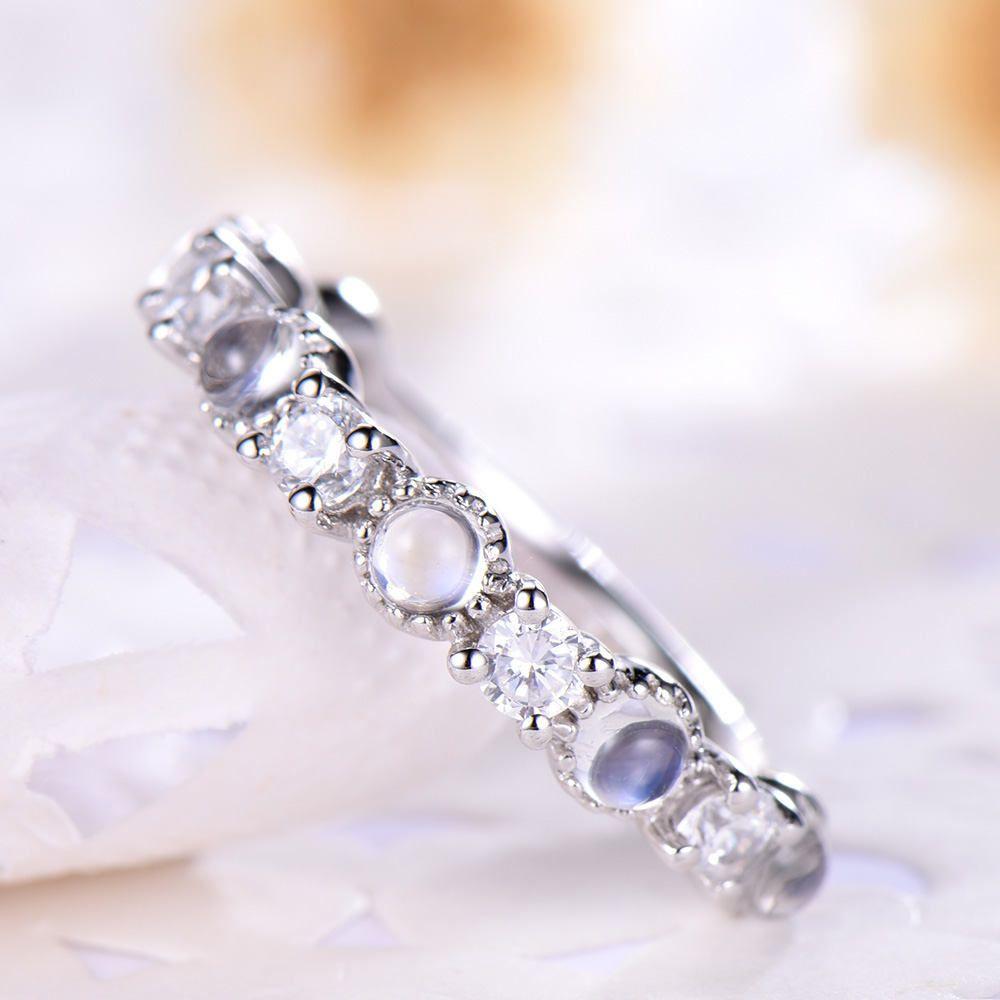 Moonstone wedding ring moonstone diamond wedding band half enternity
