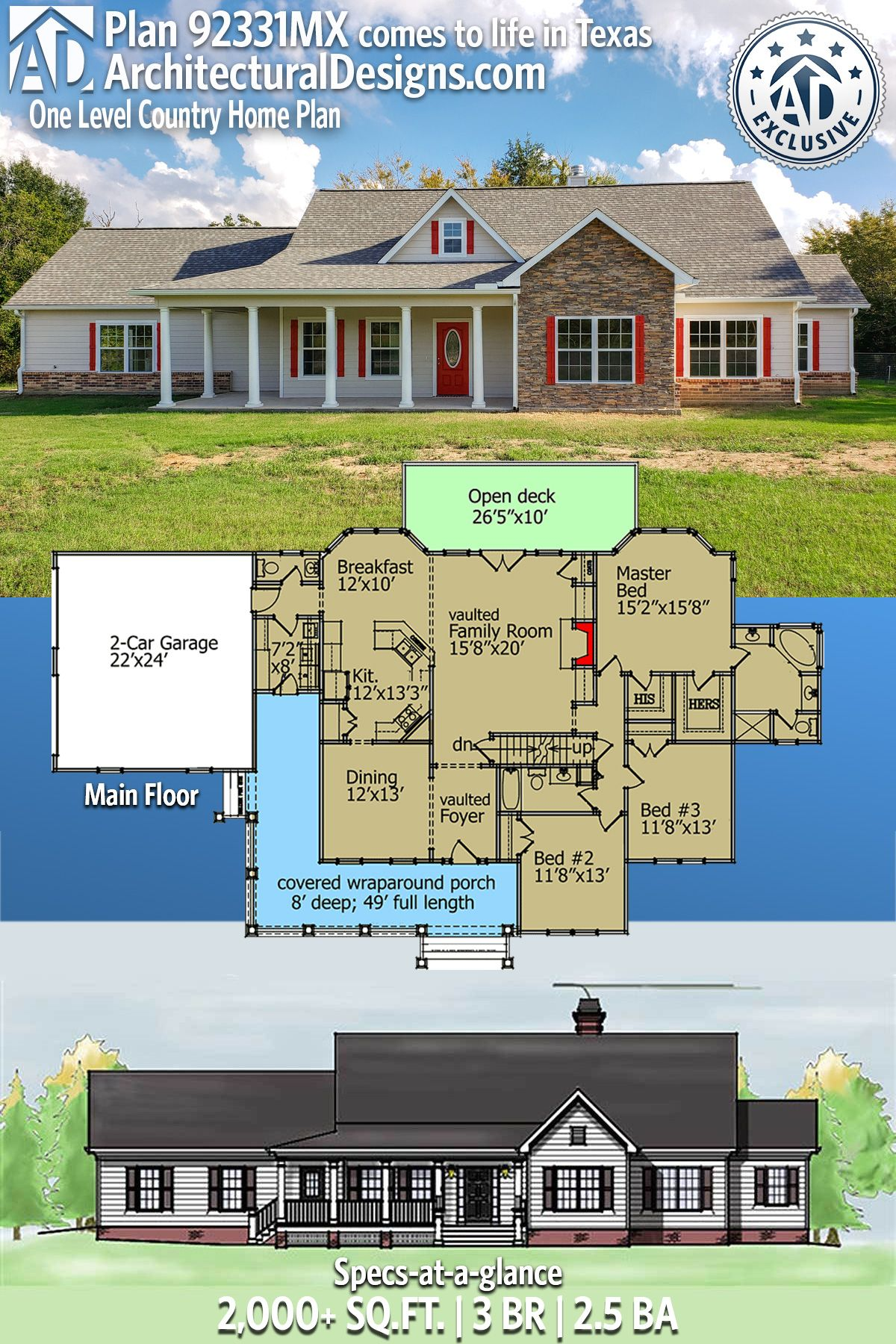 Plan 92331mx One Level Country Home Plan Country House Plans House Goals Dreams House Plans