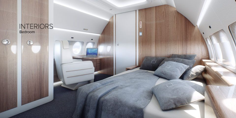 Luxury Bedroom Interior Sukhoi Business Jet Cabin (