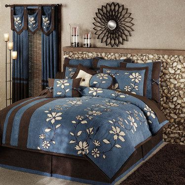 Pin On For My Home Blue and brown queen comforter sets