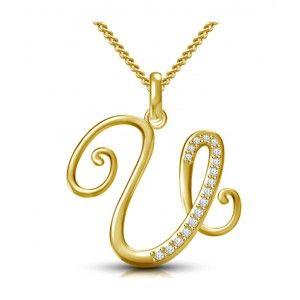 Kataria Jewellers Letter U Gold Plated 92.5 Sterling Silver and Swarovski… e5aeb16f8a7