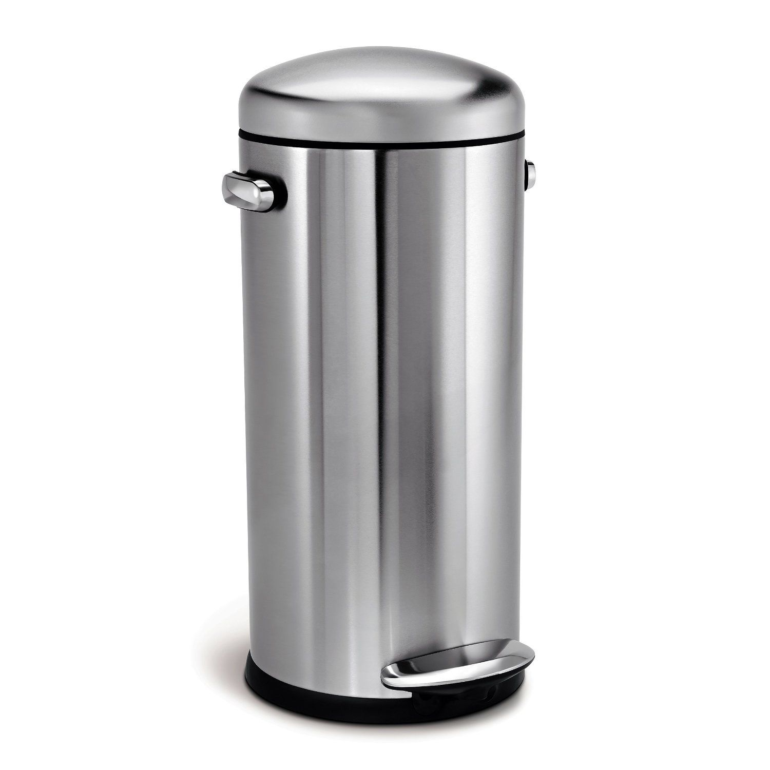 Amazon simplehuman Round Retro Step Trash Can Stainless Steel