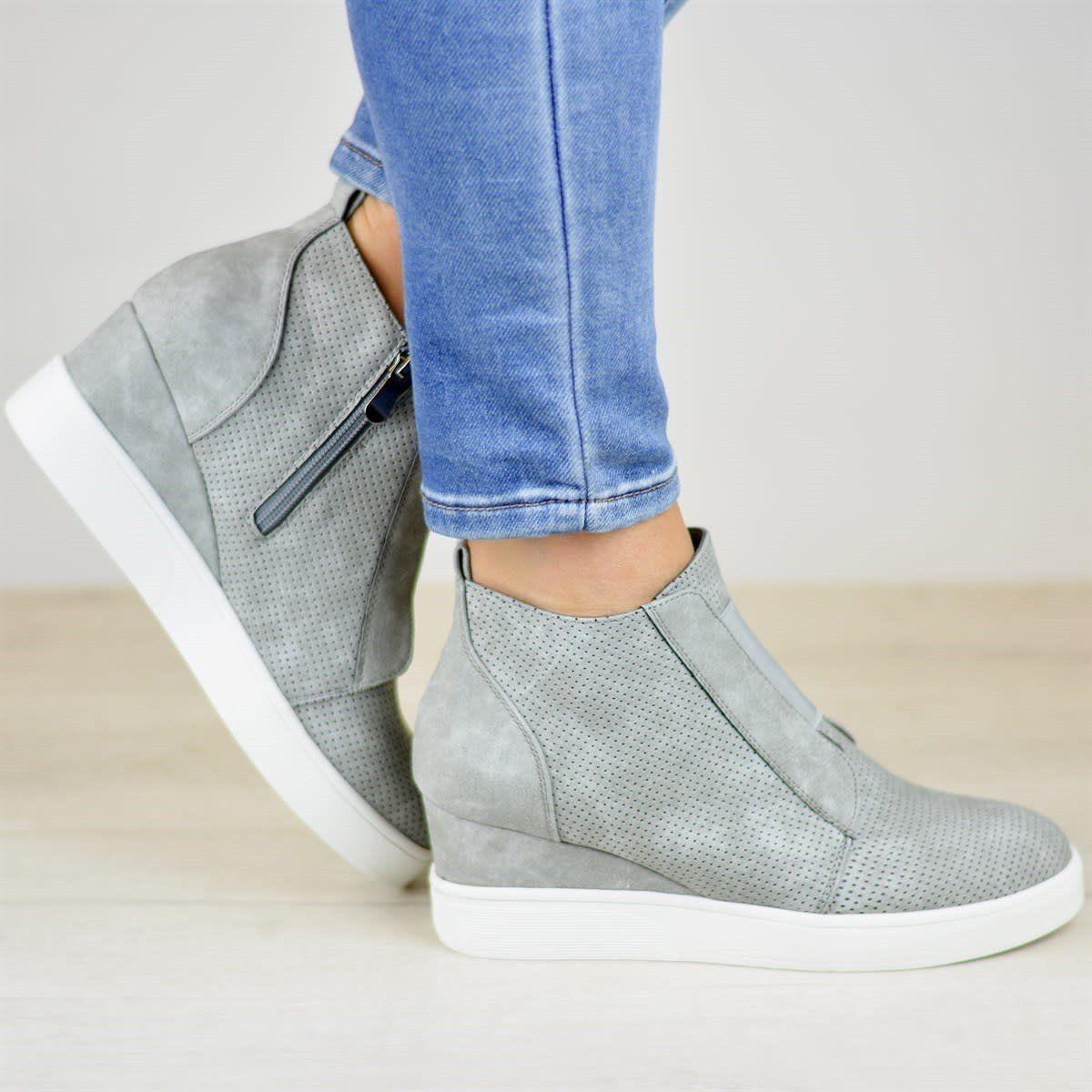 ba01e769f55e Comfort Zipper Wedge Sneakers Plus Size Wedges with Side Zipper – Mollyca