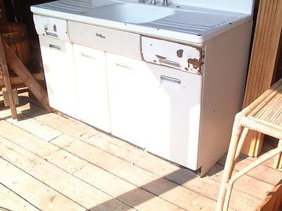 Vintage 1950 S Kitchen Metal Sink Cabinet With Storage Double Splash Boards