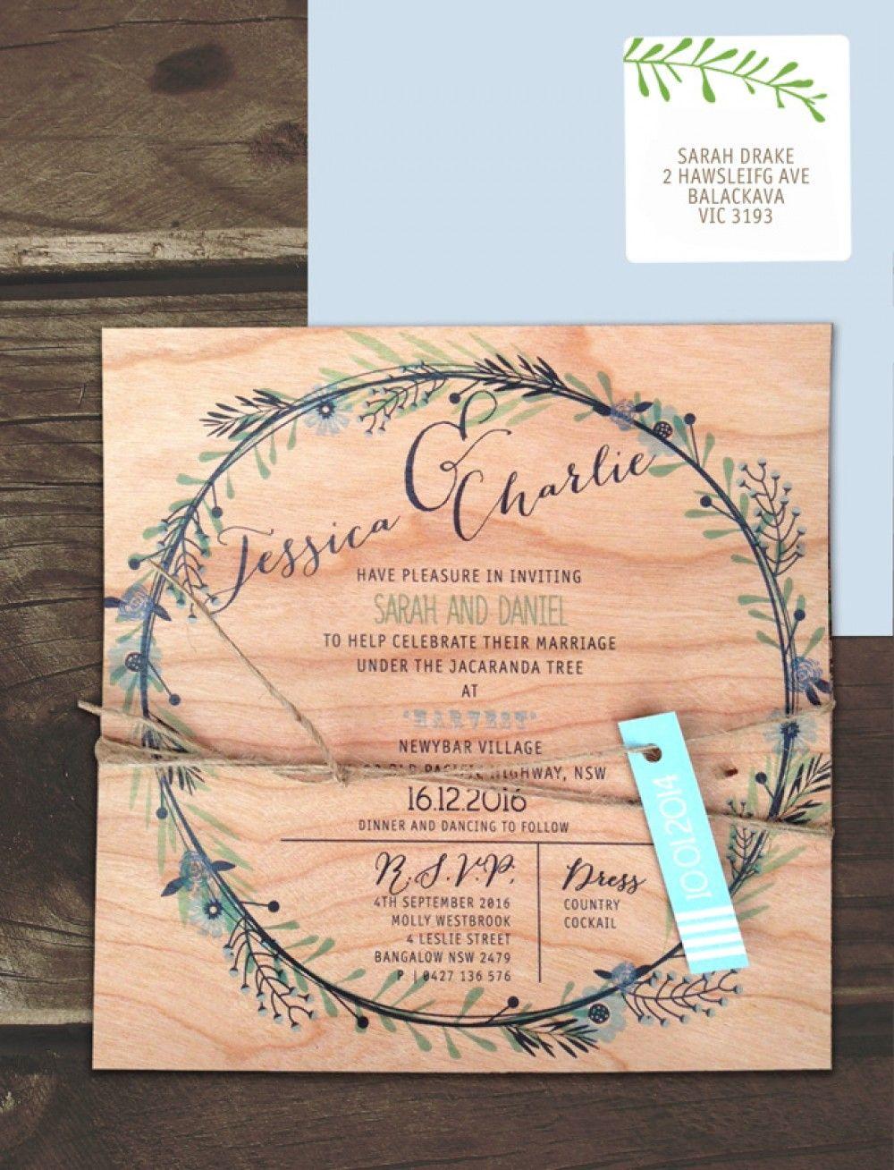 Printed On Wood Circle Of Blossoms Invitation Online Australia ...