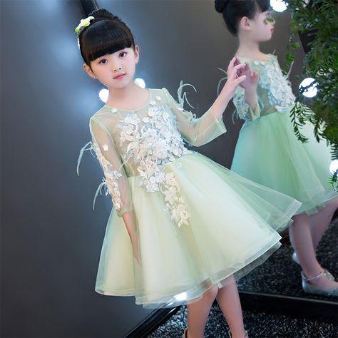 3f4e3b967 Glizt Appliques Light Green Lace Girls Wedding Dress flower Girl Dress Bead  Girls Prom Formal Dress First Communion Gown-in Dresses from Mother & Kids  on ...