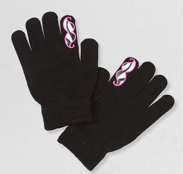 1bce4ca291800 CLEARANCE Girls Mustache Stretch Gloves Black Color US Seller ...