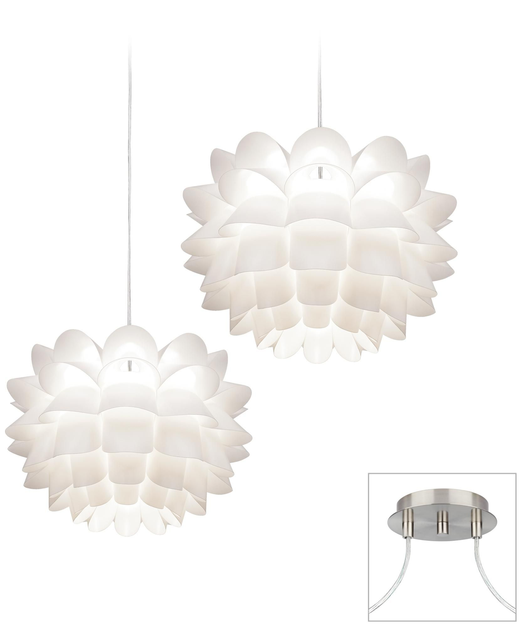 White Flower Brushed Nickel Double Swag Chandelier Style X9873