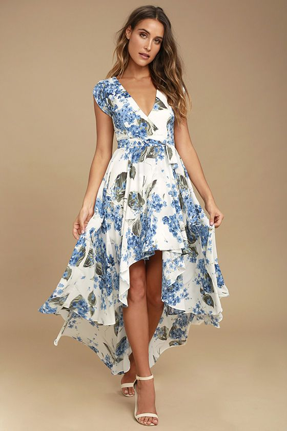 88c7df94fd5 Take a jaunt through the gardens with the French Countryside White Floral  Print High-Low Dress! Lovely blue and green floral print woven poly sweeps  across ...