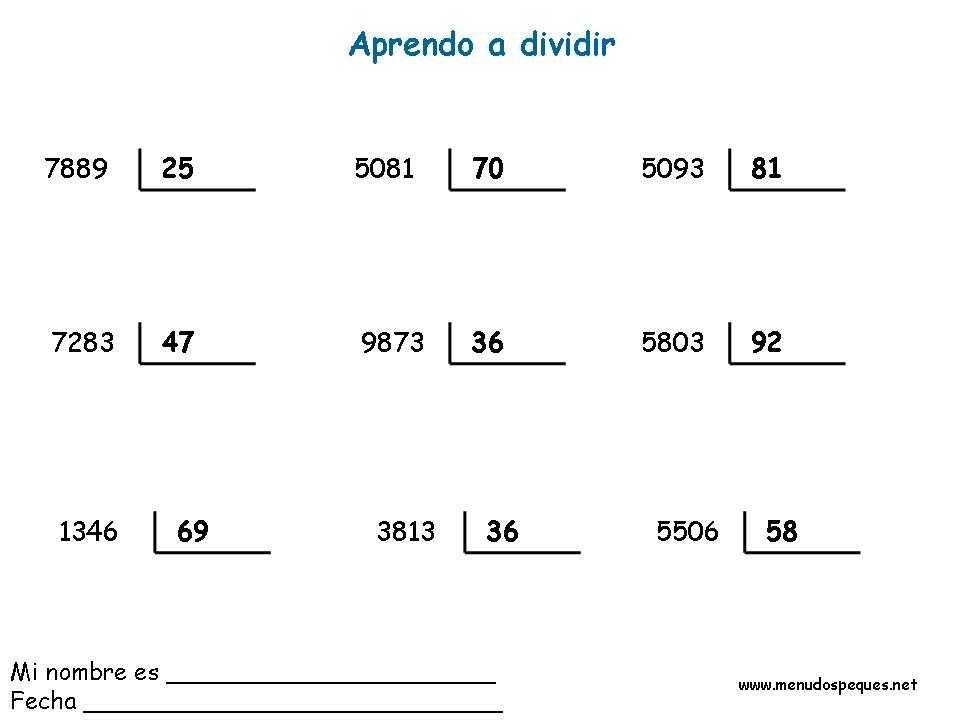Divisiones 15 Ejercicios De Divisiones División Hojas De Trabajo De Matemáticas