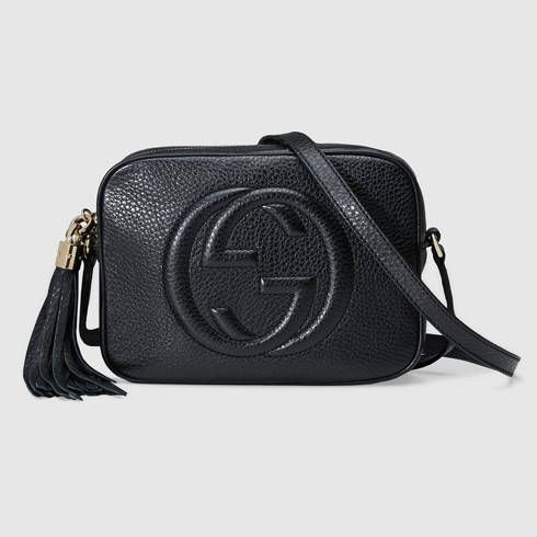 f48faea33 Soho small leather disco bag black pebbled camera bag crossbody for travel  that fits iPhone, wallet, and more luxury fashion trendy Gucci handbag purse  with ...