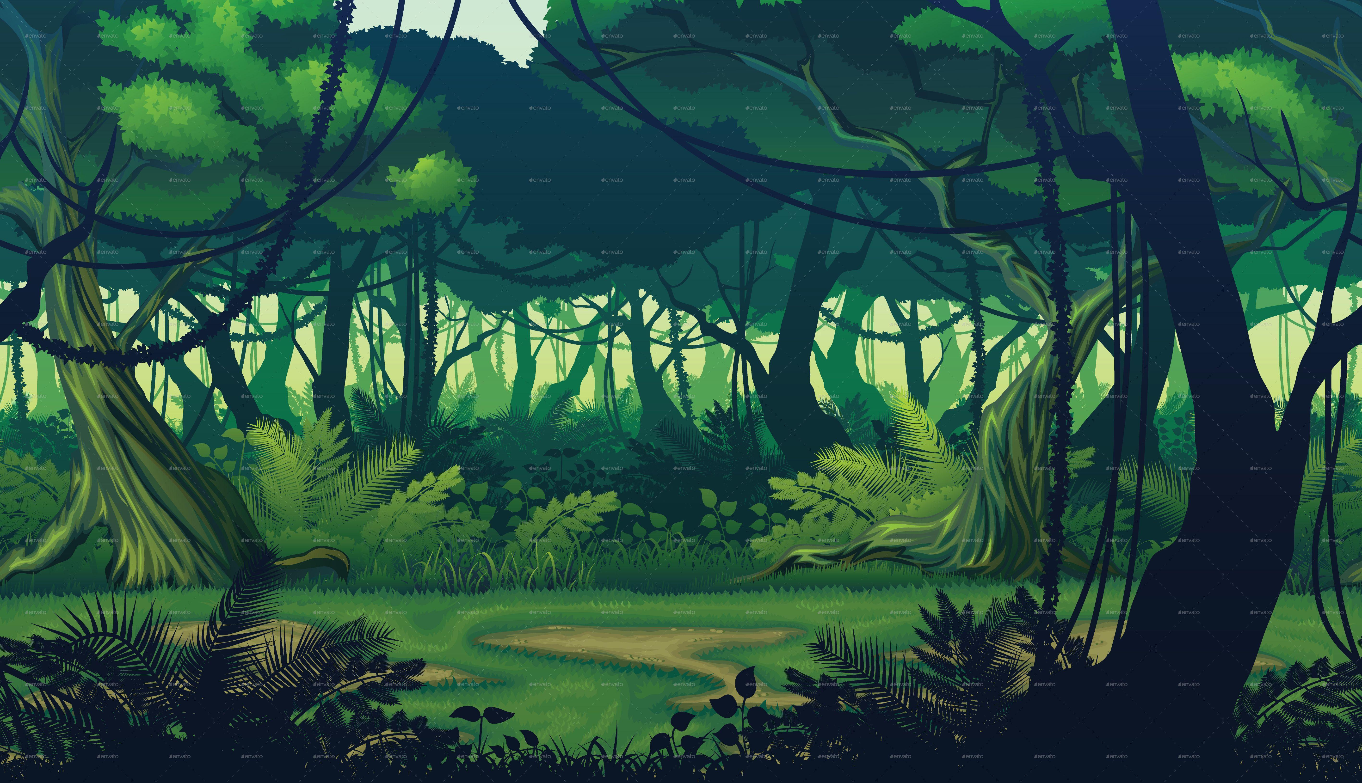 Horizontal Seamless Background with Deep Jungle Ad