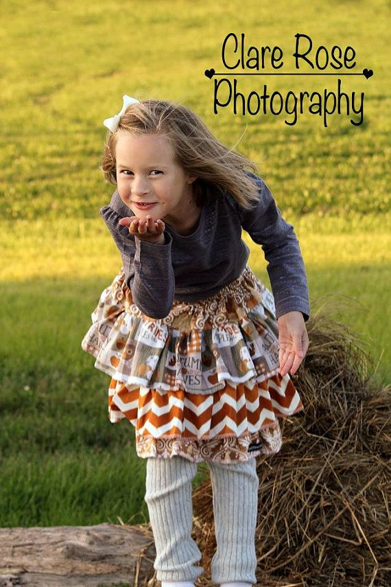 Autumn Triple Ruffle Skirt made from Create Kids Couture Pattern, Girl's Fall Harvest Skirt, Choose Your Size