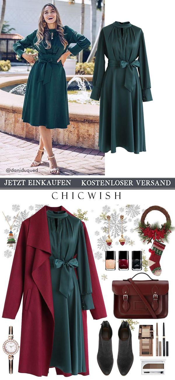 Bowknot Satin Dress #casualchristmasoutfitsforwomen