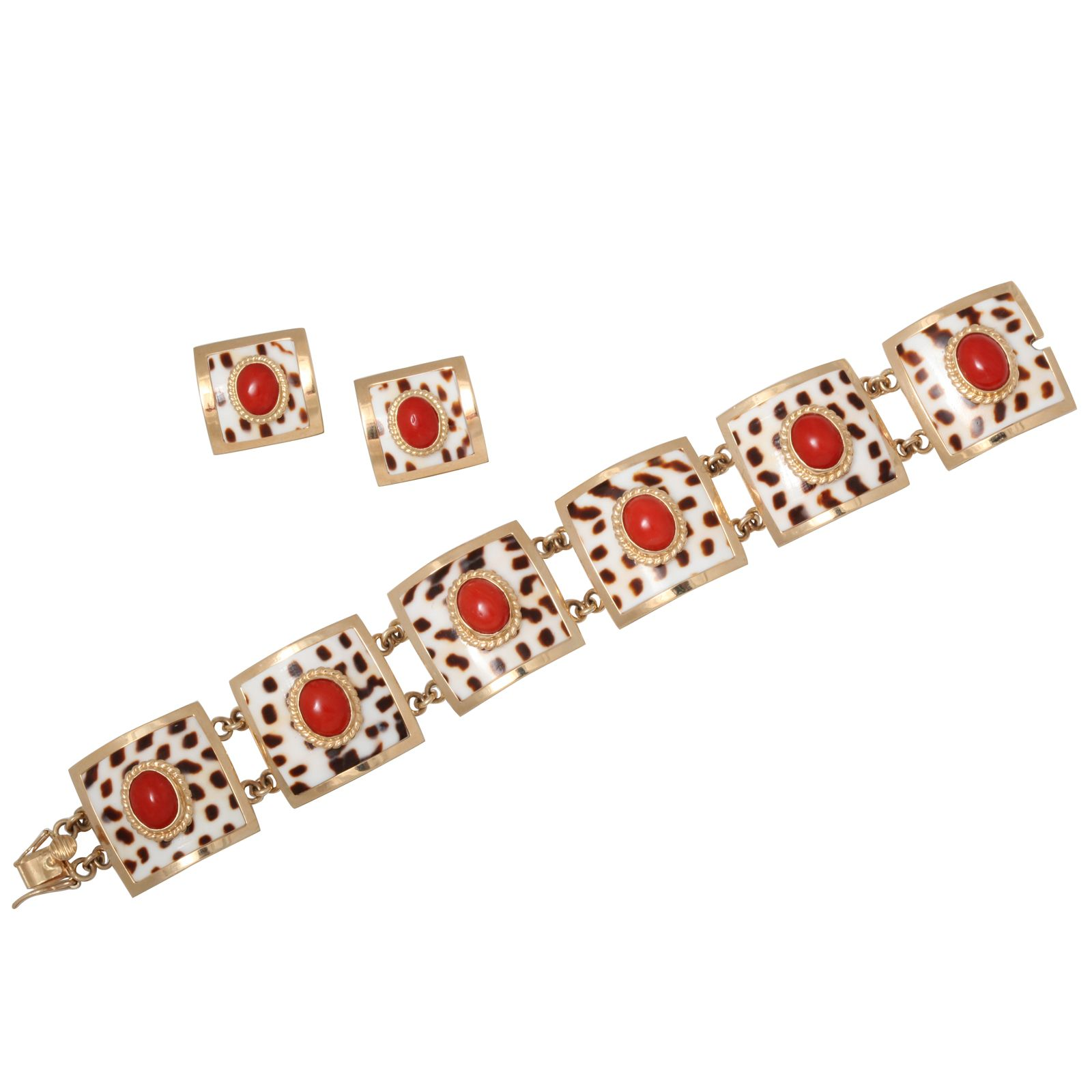 1stdibs.com | MAZZA Gold And White And Orange Coral Bracelet and Earrings