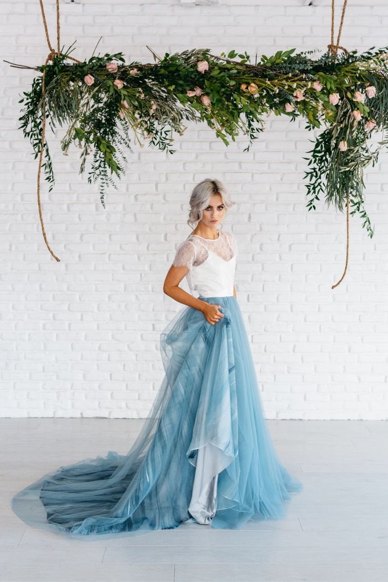 Dusty Blue Beach Wedding Inspiration | Blue wedding dresses, Beach ...