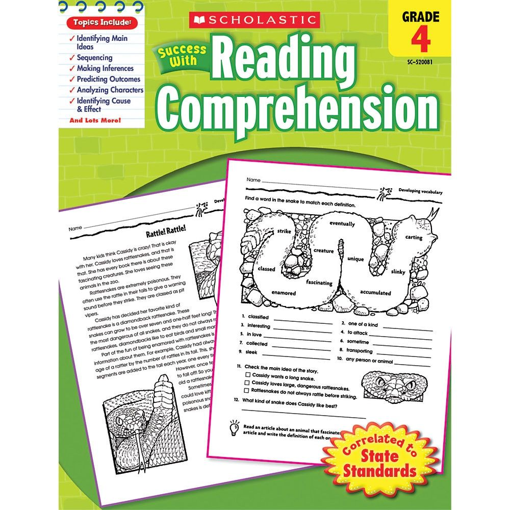 Scholastic Success With Reading Comprehension Workbook
