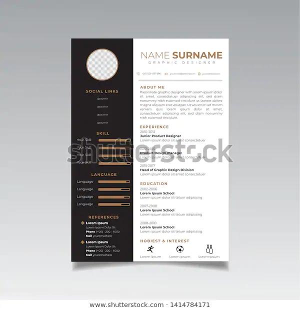 Resume Design Template Minimalist Cv Business Stock Vector Royalty Free 1414784171 In 2020 Resume Design Resume Design Free Resume Design Creative