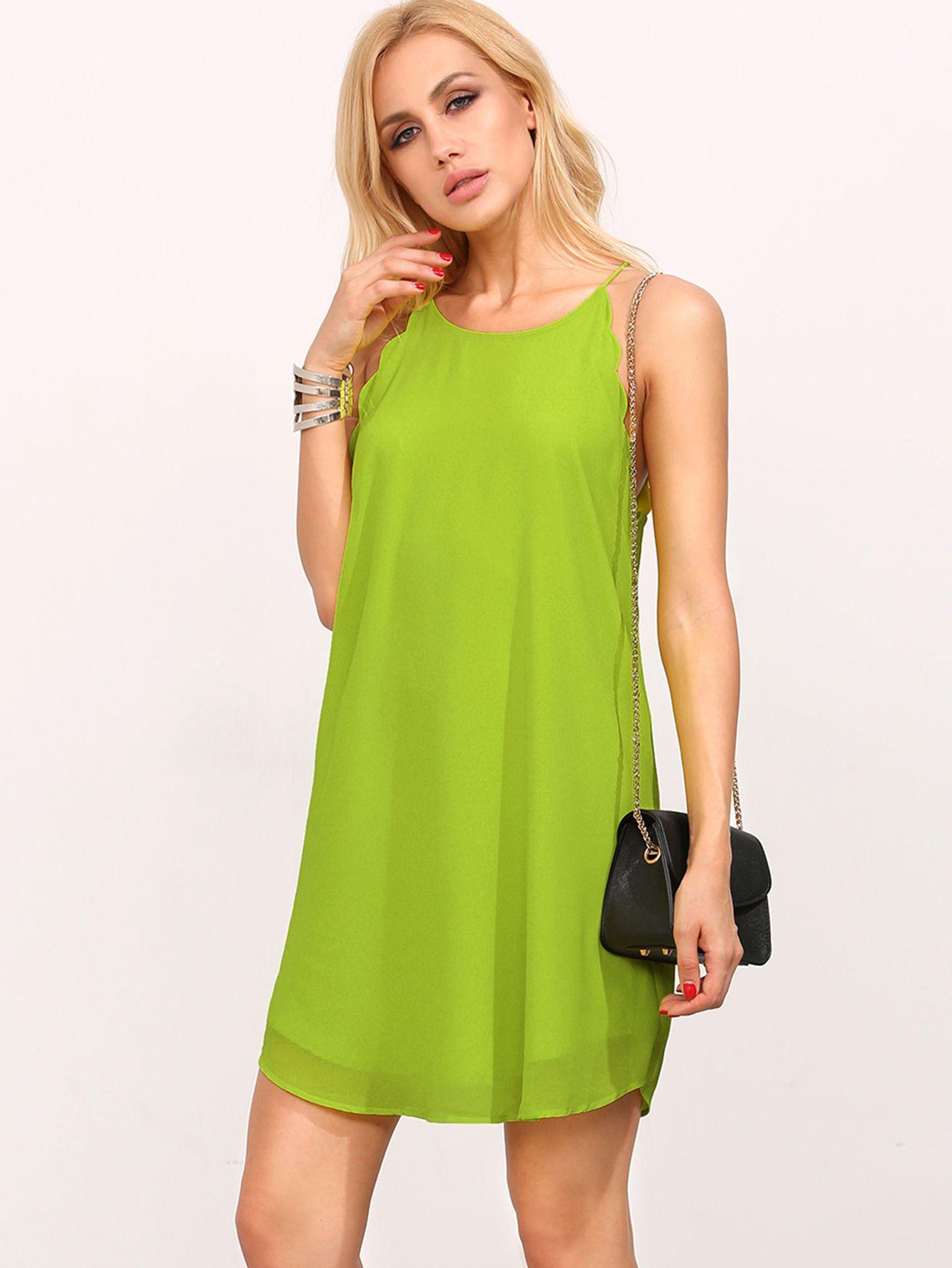 What to wear over a sleeveless dress to a wedding  Cómpralo ya Green Spaghetti Strap Scallop Frock Shift Dress Green