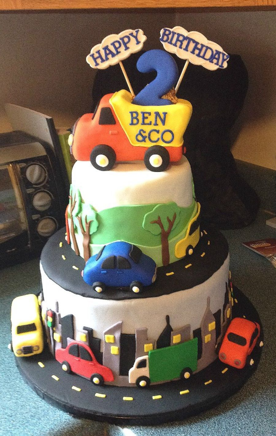 Cars Trucks and Bus Cake Pinteres
