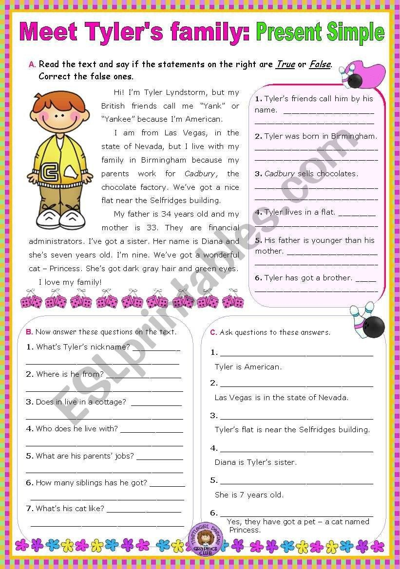 Wh Questions Reading Comprehension Worksheets Meet Tyler´s
