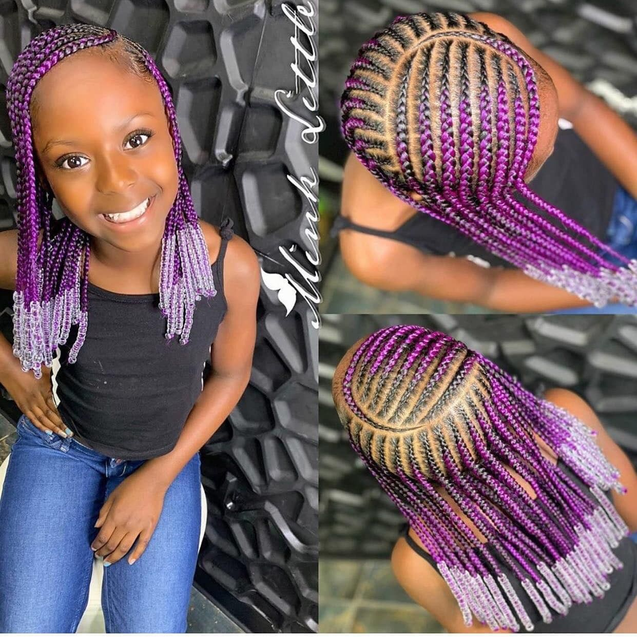 Pin By Markesha Malone On All Natural Locs Curls Waves Black Kids Hairstyles Kids Braids With Beads Little Girl Braids