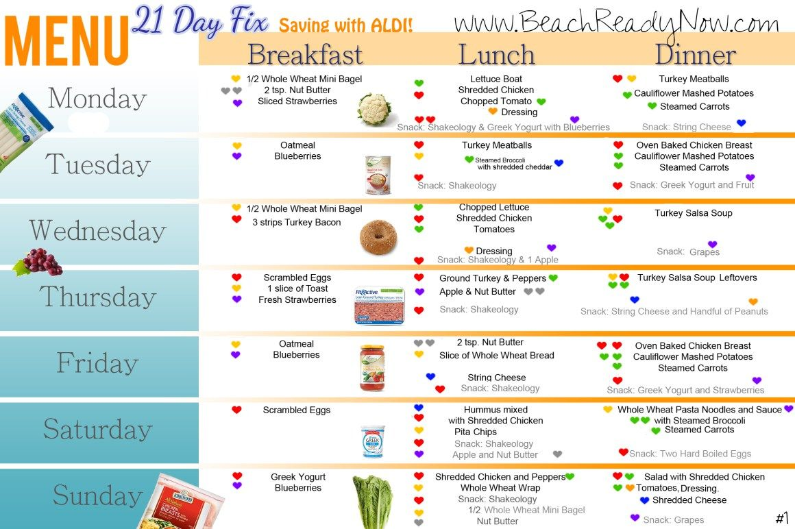 21 Day Fix ALDI Meal Plan and Shopping List 21 day fix