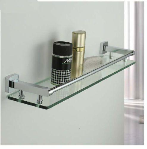 NEW Modern Square Chrome Brass Bathroom Shelf Glass Shower Caddy ...