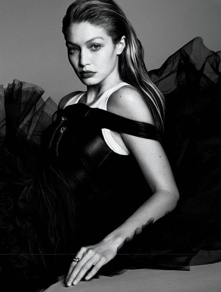 78db7190397 Gigi Hadid Stuns in Black   White for Vogue Japan