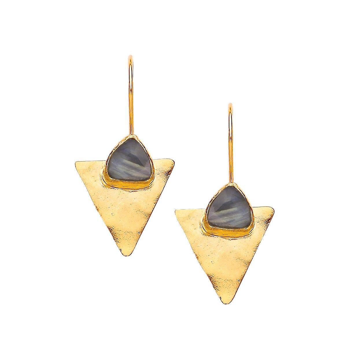 697ea5da3 Ottoman Hands Triangle Labradorite on Hammered Triangle Earrings   Venusi  Jewels