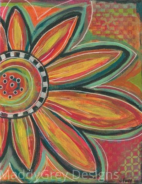 Boho flower wall art, bohemian flower art, colorful flower ...