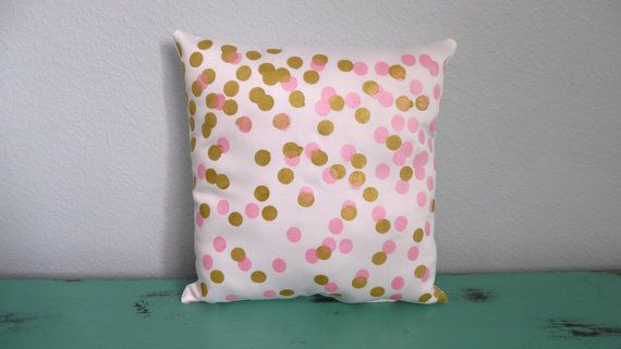 White Pink and Gold Scattered Circles Pillow by KatieScarlettCo