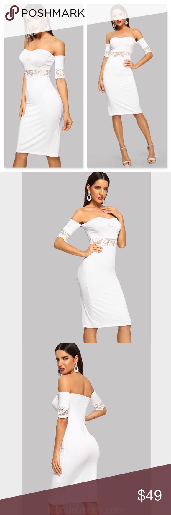 Dentelle Épaule Off Bodycon Robe Blanche Blanc Élégant, Glamour, Sexy 95% Polyester, 5% Spande... #summerdinneroutfits