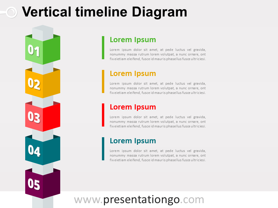 Free Vertical Timeline Cubes Powerpoint Diagram  Powerpoint