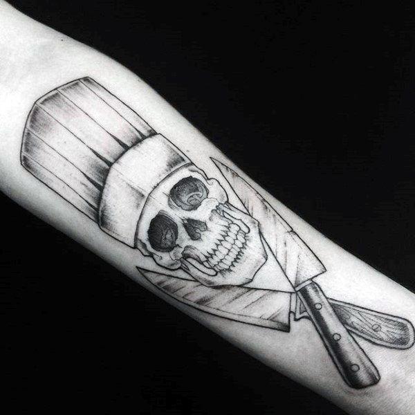 cool chef knife skull male arm tattoo designs kitchen pinterest male arm tattoos arm. Black Bedroom Furniture Sets. Home Design Ideas