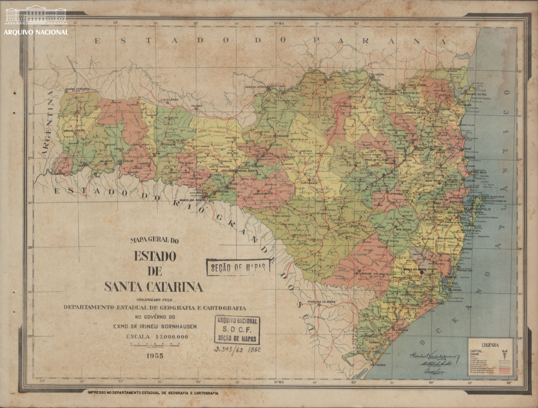 Mapa De Santa Catarina 1956 Arquivo Nacional Fundo Cartografica